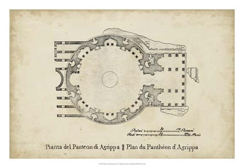 Framed Plan for the Pantheon Print