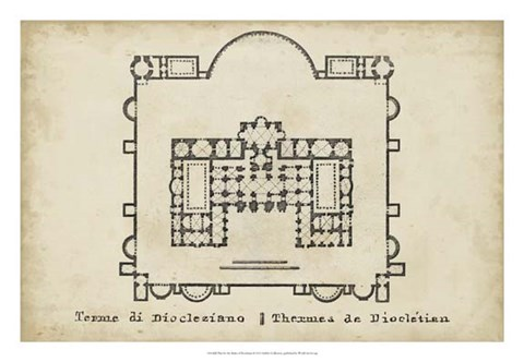Framed Plan for the Baths of Diocletian Print