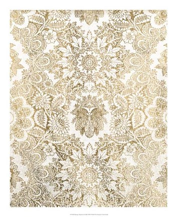 Framed Baroque Tapestry in Gold I Print