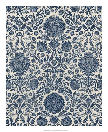 Framed Baroque Tapestry in Navy I Print