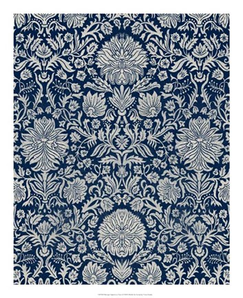 Framed Baroque Tapestry in Navy II Print