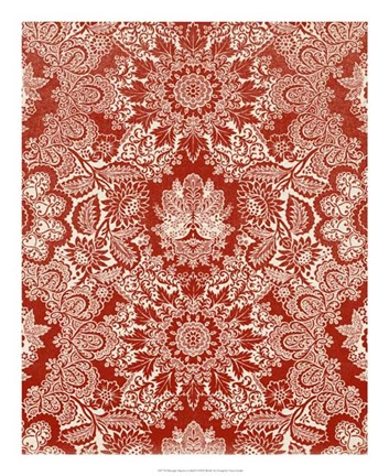 Framed Baroque Tapestry in Red II Print
