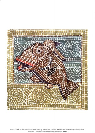 Framed Mosaic Fish I Print
