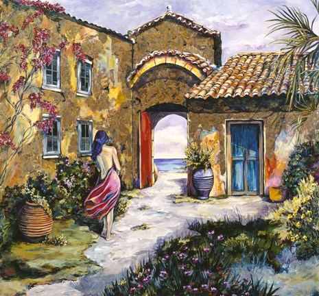 Framed Courtyard By The Sea Print