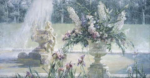 Framed Fountain in the Country Estate Print