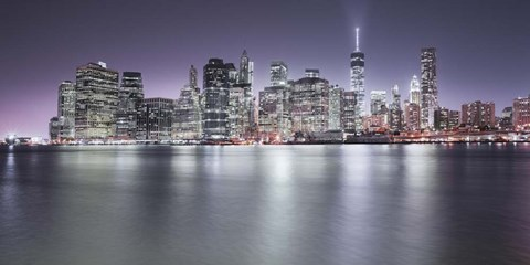 Framed Manhattan Skyline Night Print