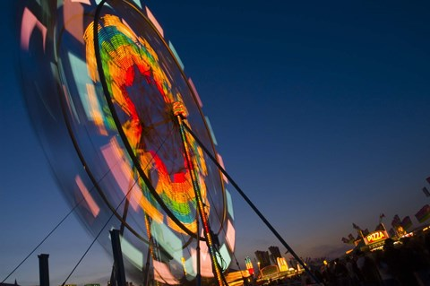 Framed Color Blurred Ferriswheel at Night Print
