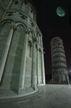 Framed Leaning Tower of Pisa at Night Print