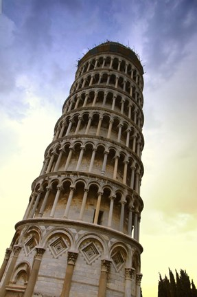 Framed Close Up of Leaning Tower of Pisa Print