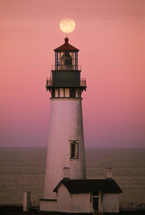 Framed Lighthouse Against Pink and Red Sunset Print