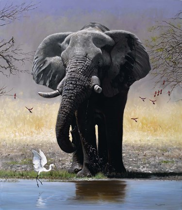 Framed Elephant, Egret And Carmines Print