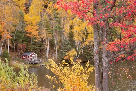 Framed Boathouse In Autumn, Marquette, Michigan 12 Print