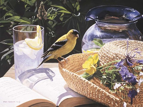 Framed Goldfinch On Straw Hat Print
