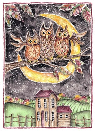 Framed Three Owl Halloween Print