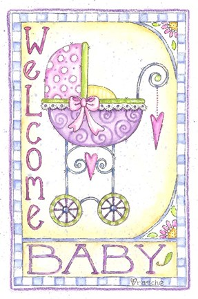 Framed Welcome Baby Carriage Print
