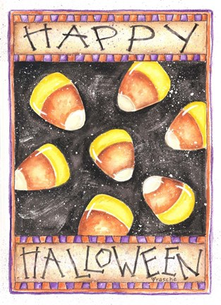 Framed Happy Halloween Candy Corn Print