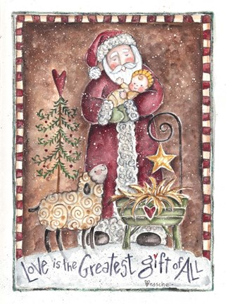 Love Is The Greatest Gift Santa Fine Art Print By Shelly