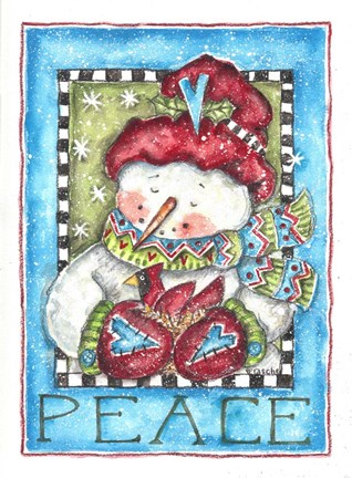 Framed Peace Snowman and Cardinal Print