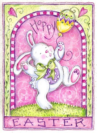 Framed Easter Bunny with Balloon Print