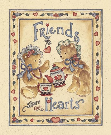 Framed Friends Share Their Hearts Print