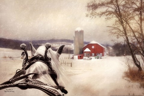 Framed Sleigh Ride In The Country Print