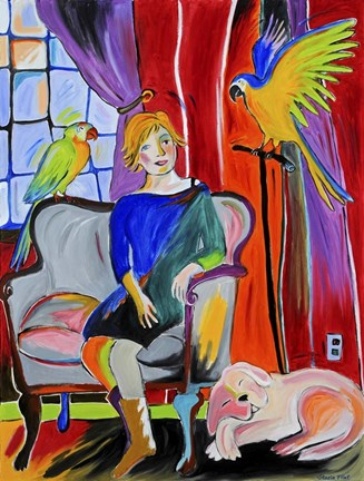 Framed Woman With Parrots And A Dog Print