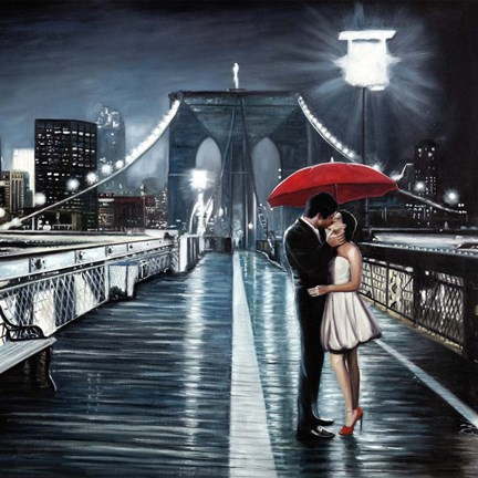 Framed Kissing on Brooklyn Bridge Print