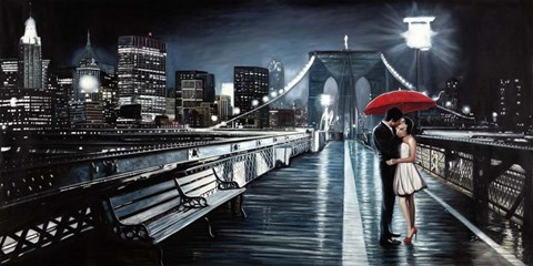 Framed Kissing on Brooklyn Bridge II Print