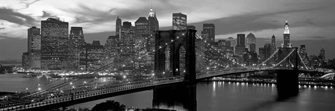 Framed Brooklyn Bridge and Skyline Print
