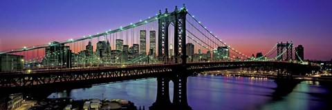 Framed Manhattan Bridge and Skyline Print