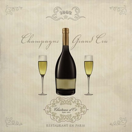 Framed Champagne Grand Cru Print