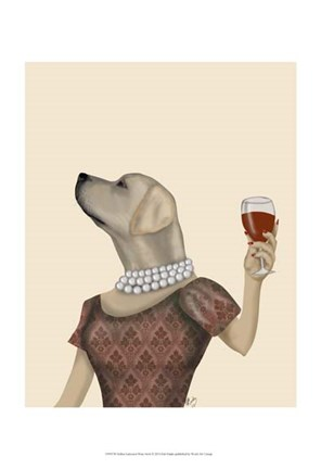 Framed Yellow Labrador Wine Snob Print