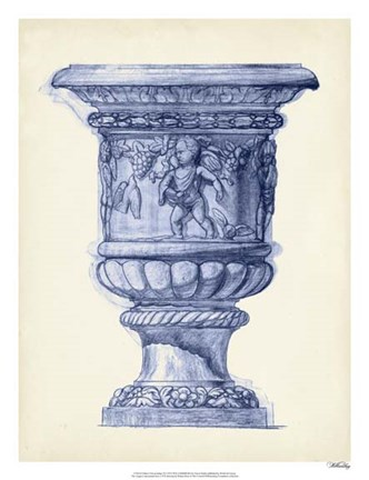 Framed Palace Urns in Indigo III Print