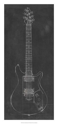 Framed Electric Guitar Blueprint II Print