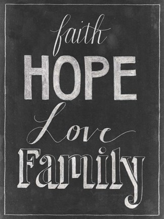 Framed Chalkboard Faith I Print