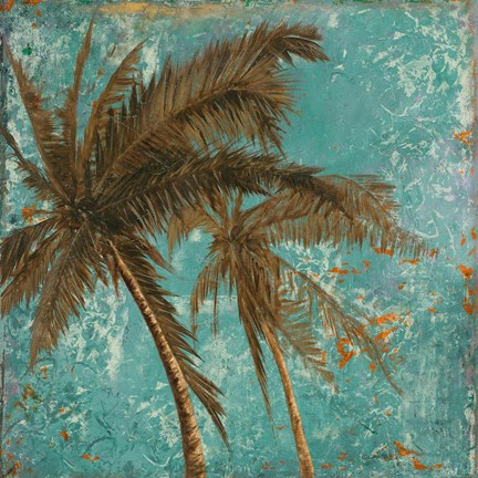 Framed Palm on Turquoise II Print