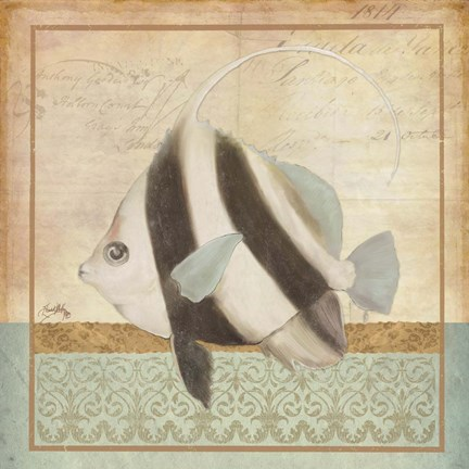 Framed Vintage Fish I Print