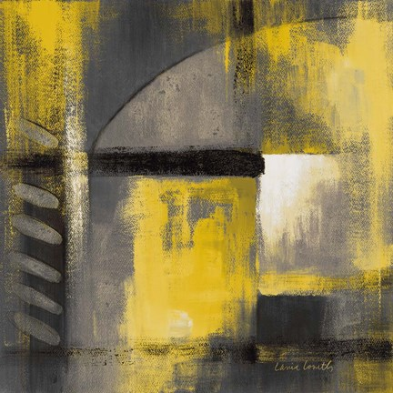 Framed Grey and Yellow Soiree I Print
