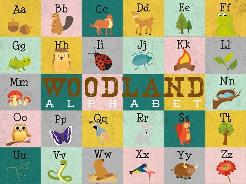 Framed Woodland Alphabet (horizontal) Print