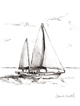 Framed Coastal Boat Sketch II Print