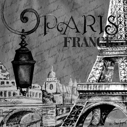 Framed Parisian Wall Black I Print