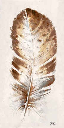 Framed Brown Watercolor Feather I Print