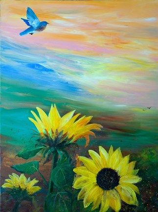 Framed BlueBird Flying Over Sunflowers Print