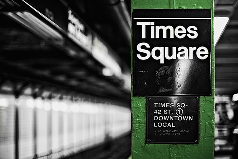 Framed Times Square Subway Green Print