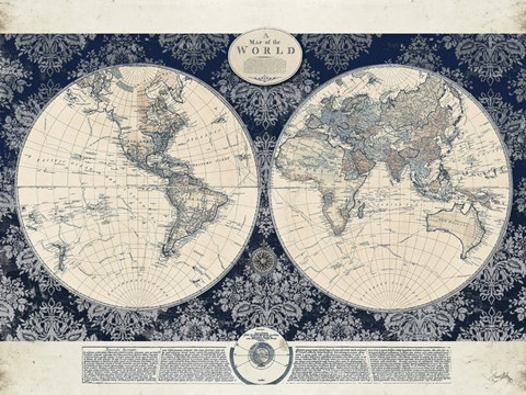 Framed Blue Map of the World Print