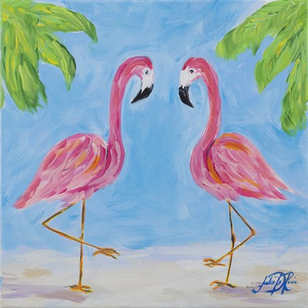 Framed Fancy Flamingos III Print