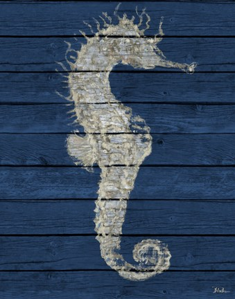 Framed Antique Seahorse on Blue I Print