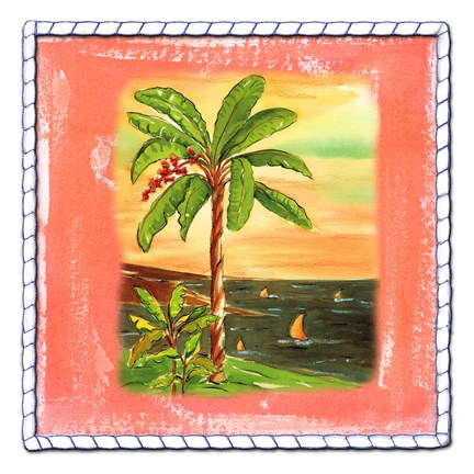Framed Beach-Front Banana Tree Print