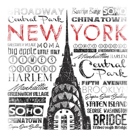 Framed New York Words Print