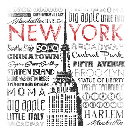 Framed New York Words Mate Print